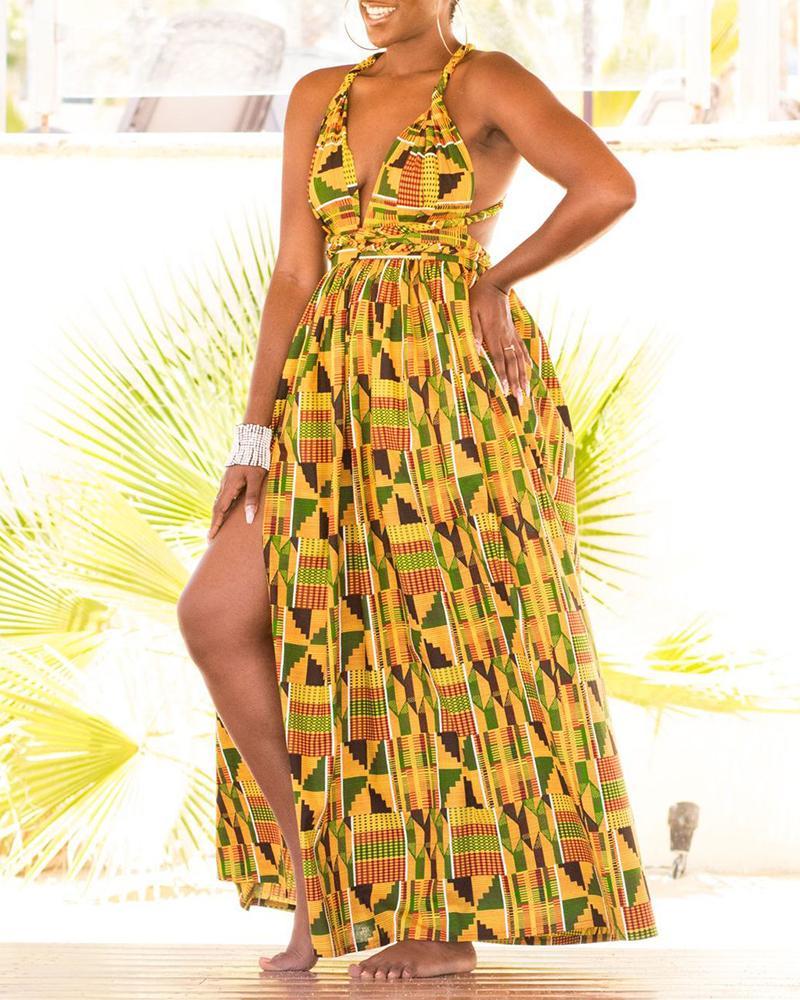 ivrose / Colorful Print Spaghetti Strap High Slit Dress