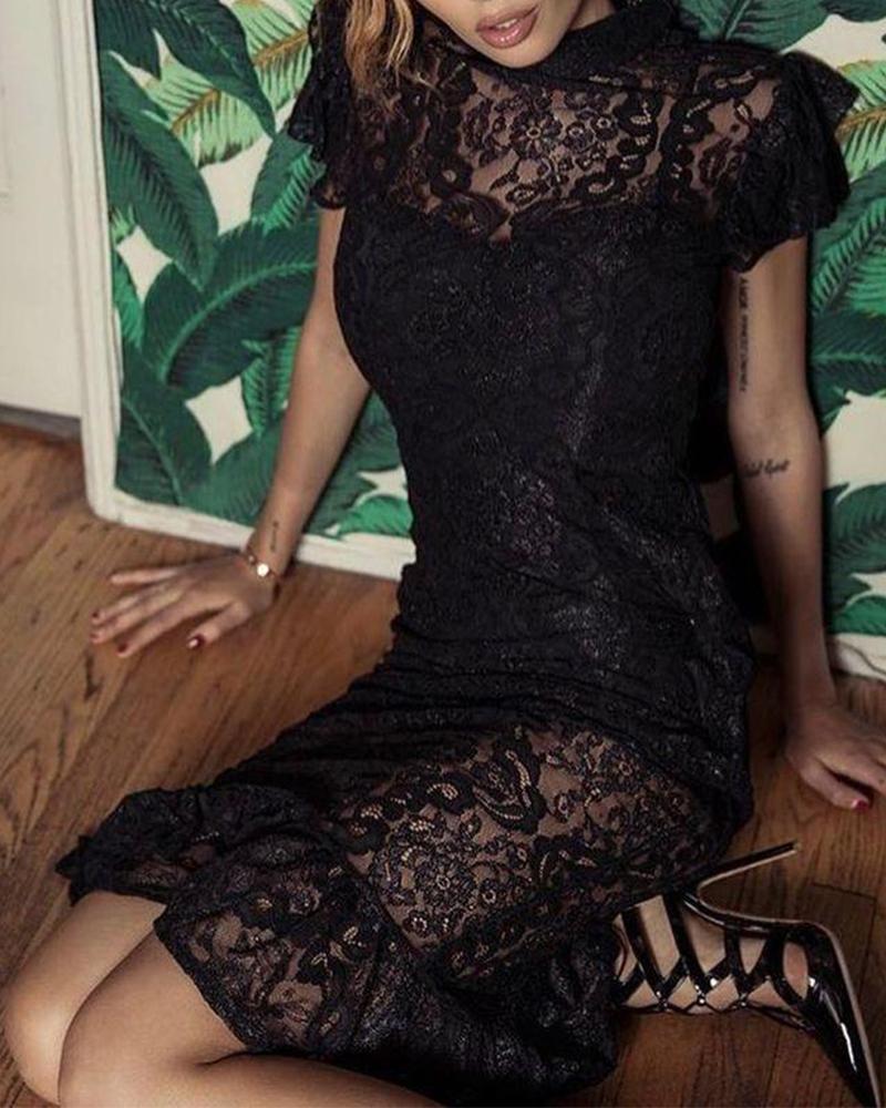 ivrose / Vestido midi con detalle de encaje y cuello simulado