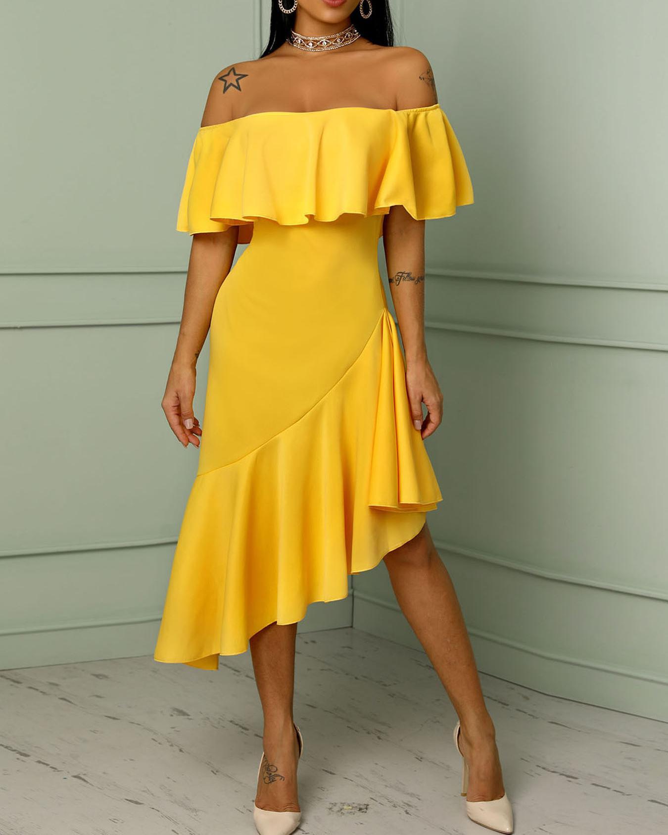 Asymmetric Off Shoulder Ruffles Hem Maxi Dress a4537a698