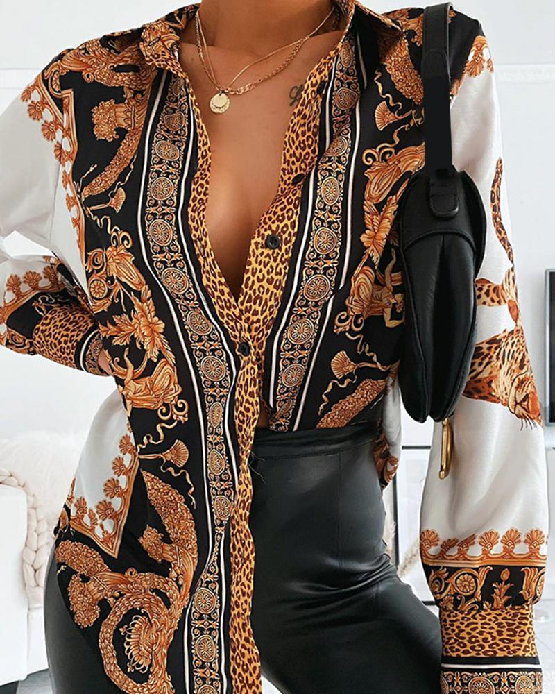 chicme / Baroque Print Button Front Shirt