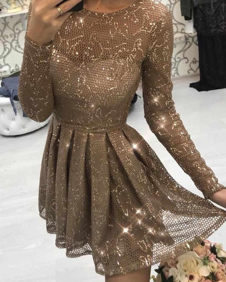 Glitter Sheer Mesh Pleated Mini Dress фото