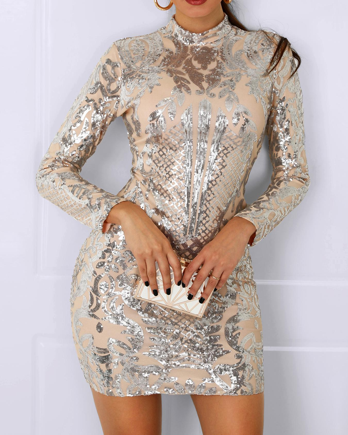 Long Sleeve Slinky Sequin Dress