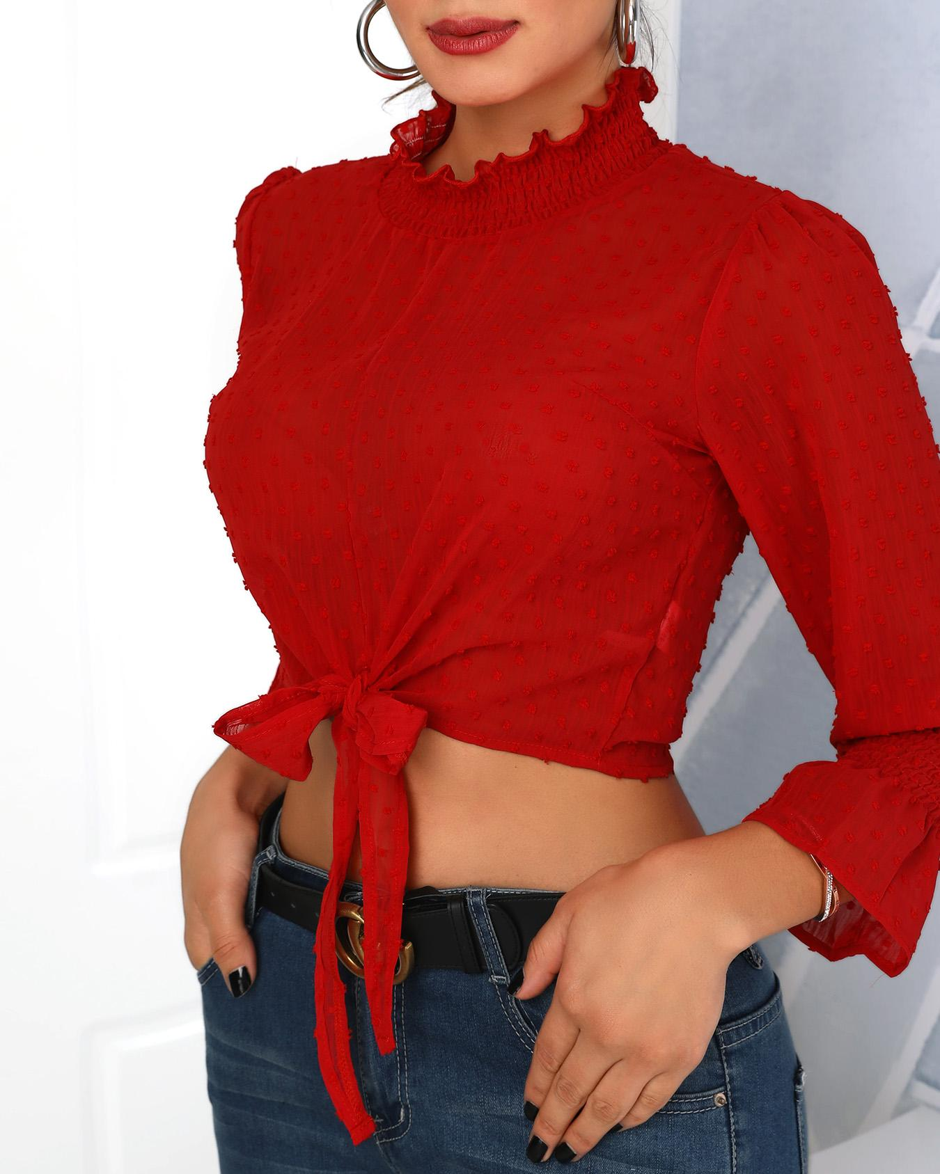 Dots Shirring Detail Knot Front Blouse, Red