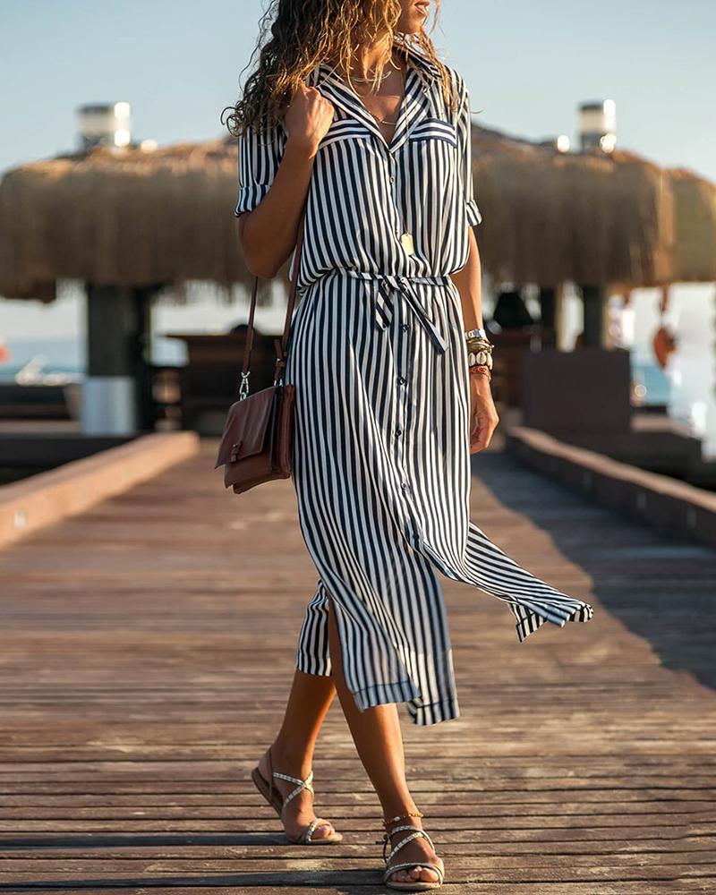 Striped Short Sleeve Slit Shirt Dress фото