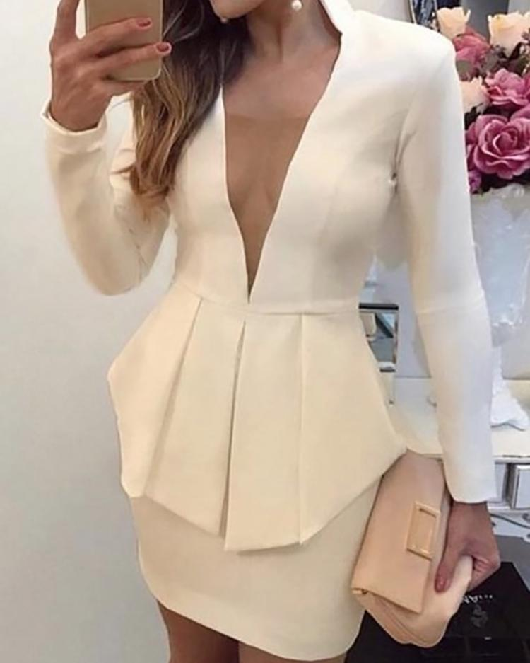 Deep V-Neck Peplum Bodycon Dress фото