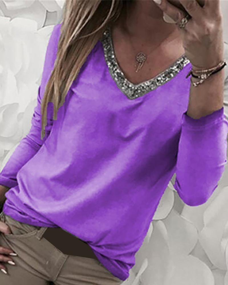 chicme / Blusa de manga larga con parche de lentejuelas con cuello en V