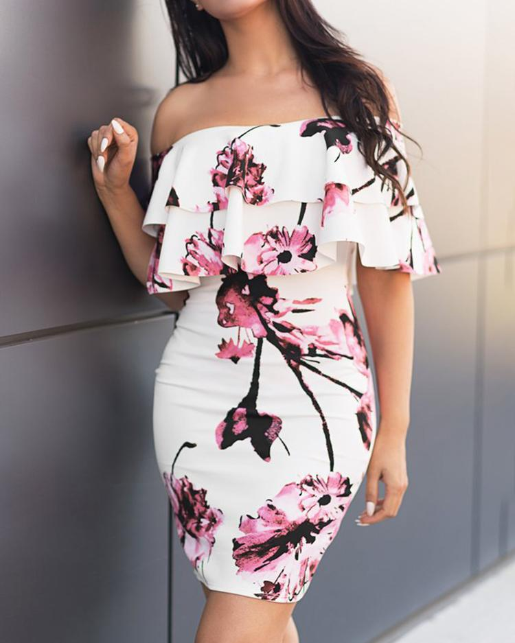 Floral Layered Ruffles Off Shoulder Bodycon Dress, Pink