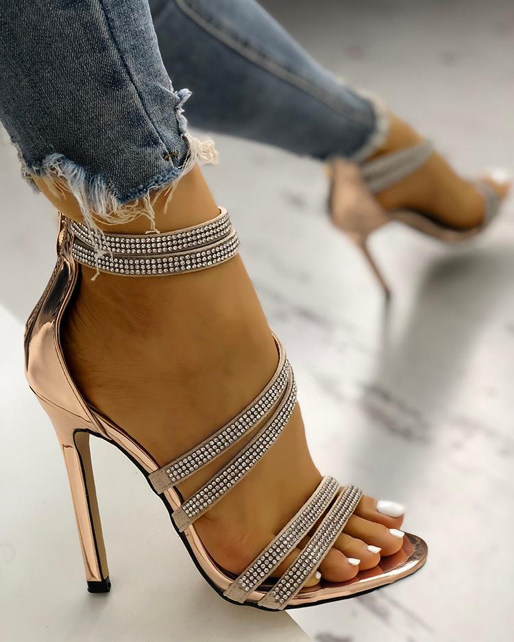 Hot Drilling Bandage Thin Heeled Sandals фото