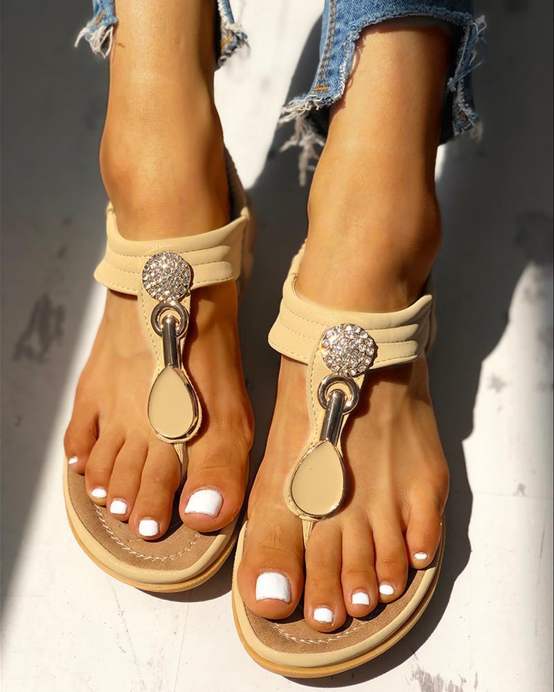 Studded Toe Post Flat Sandals