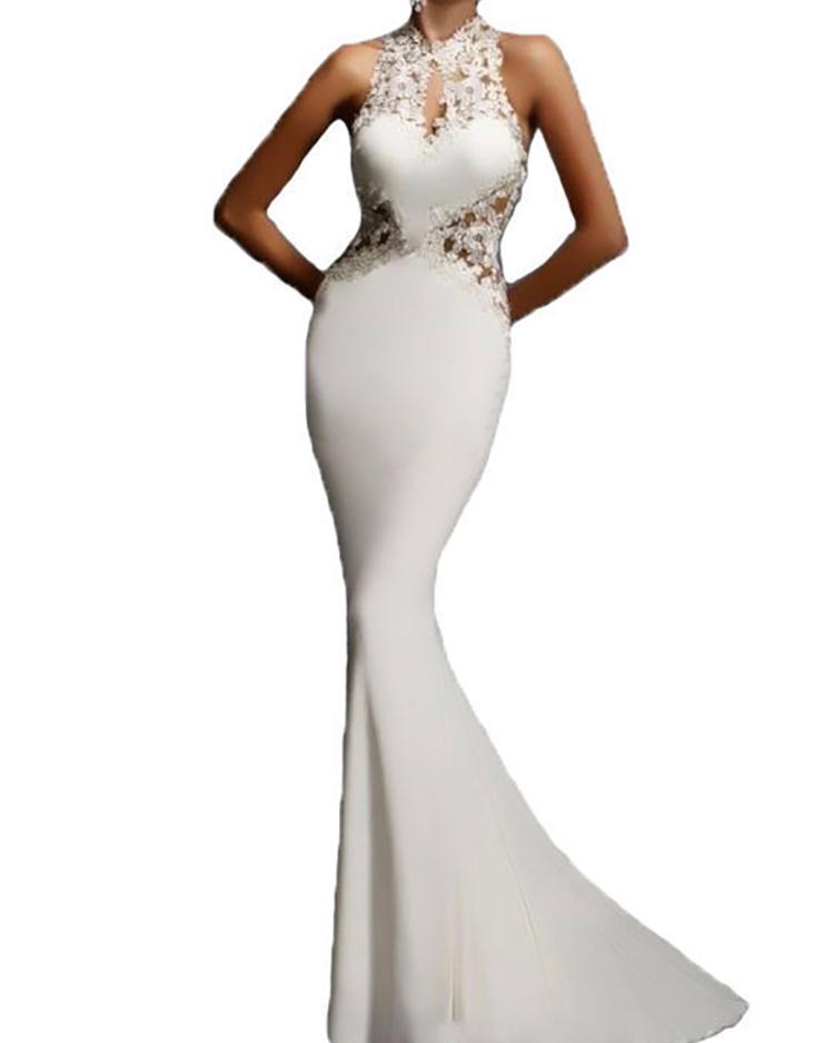 Asymmetric Lace Crochet Open Back Maxi Dress - White