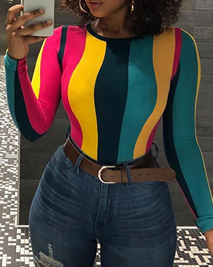 Colorful Stripes Long Sleeve T-Shirt фото