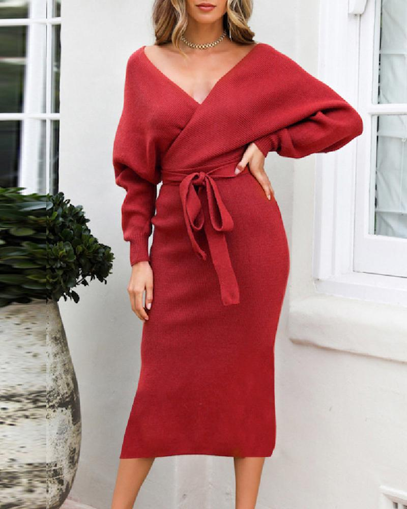 V Neck Backless Wrap Dress chicme