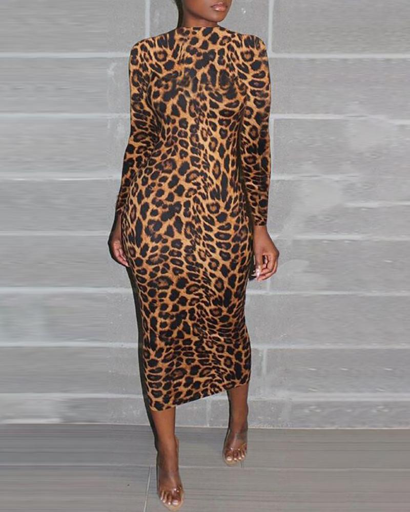 chicme / Leopardo Manga Longa Bodycon Vestido