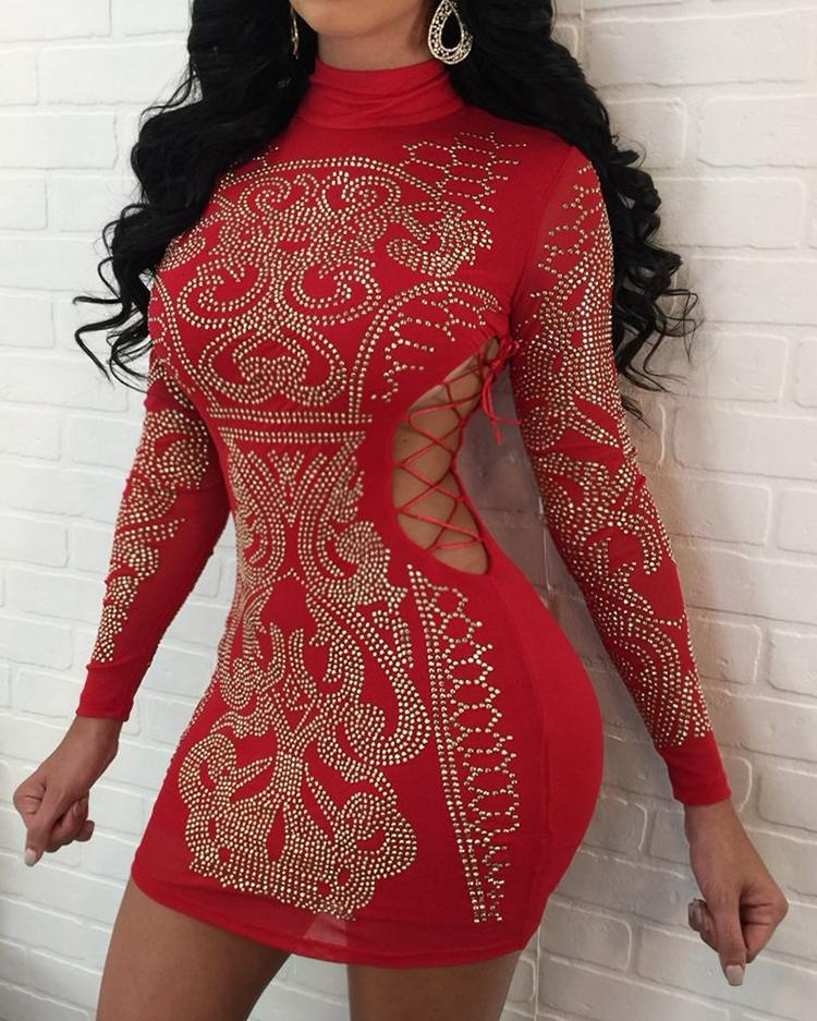 Hot Stamping Lace-Up Cut Out Bodycon Party Dress фото