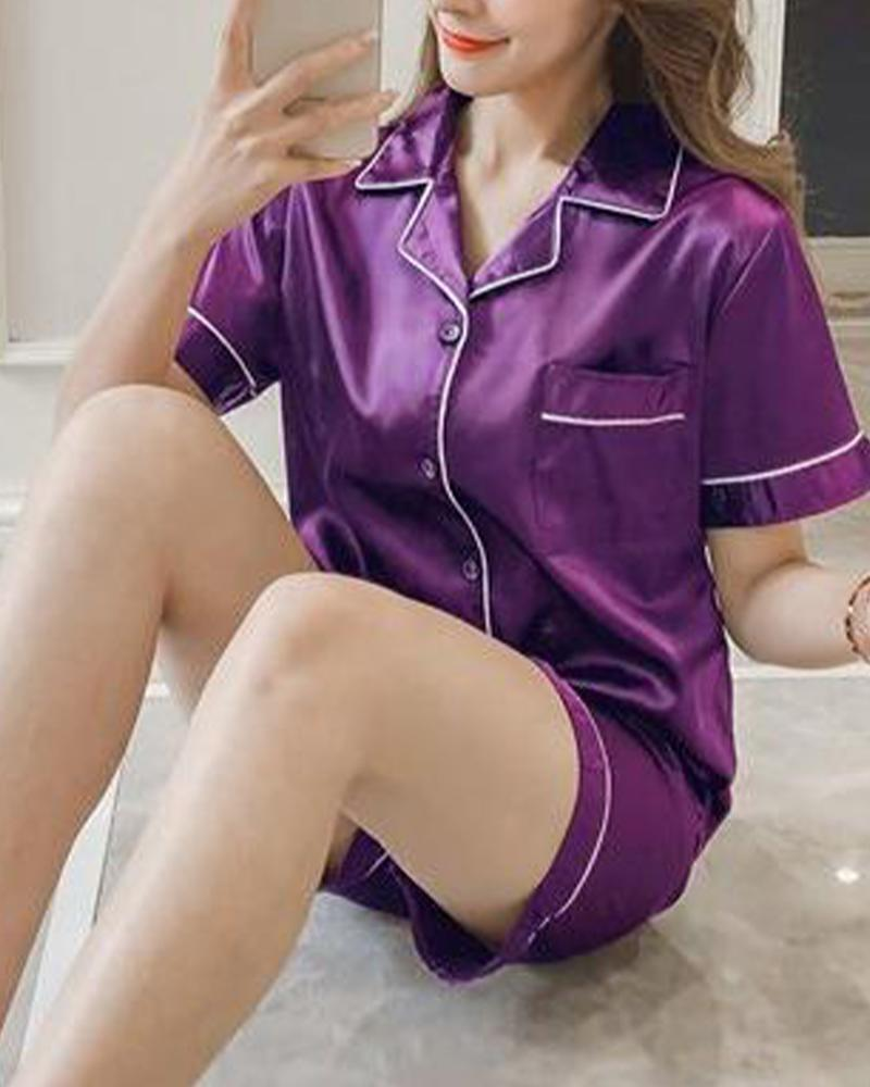 Satin Shirt & Shorts Pajama Set фото