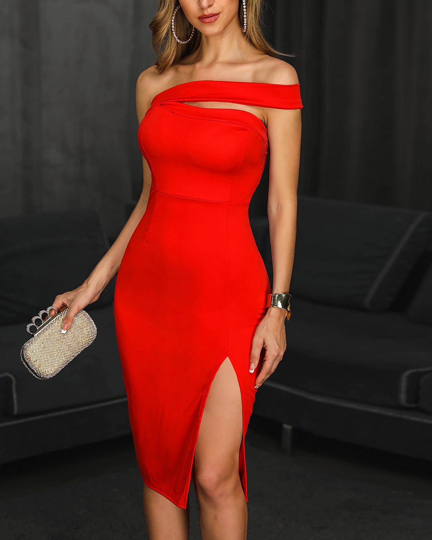 One Shoulder Slit Party Dress