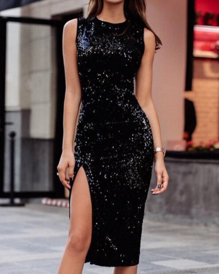 Side Slit Slinky Sequin Dress