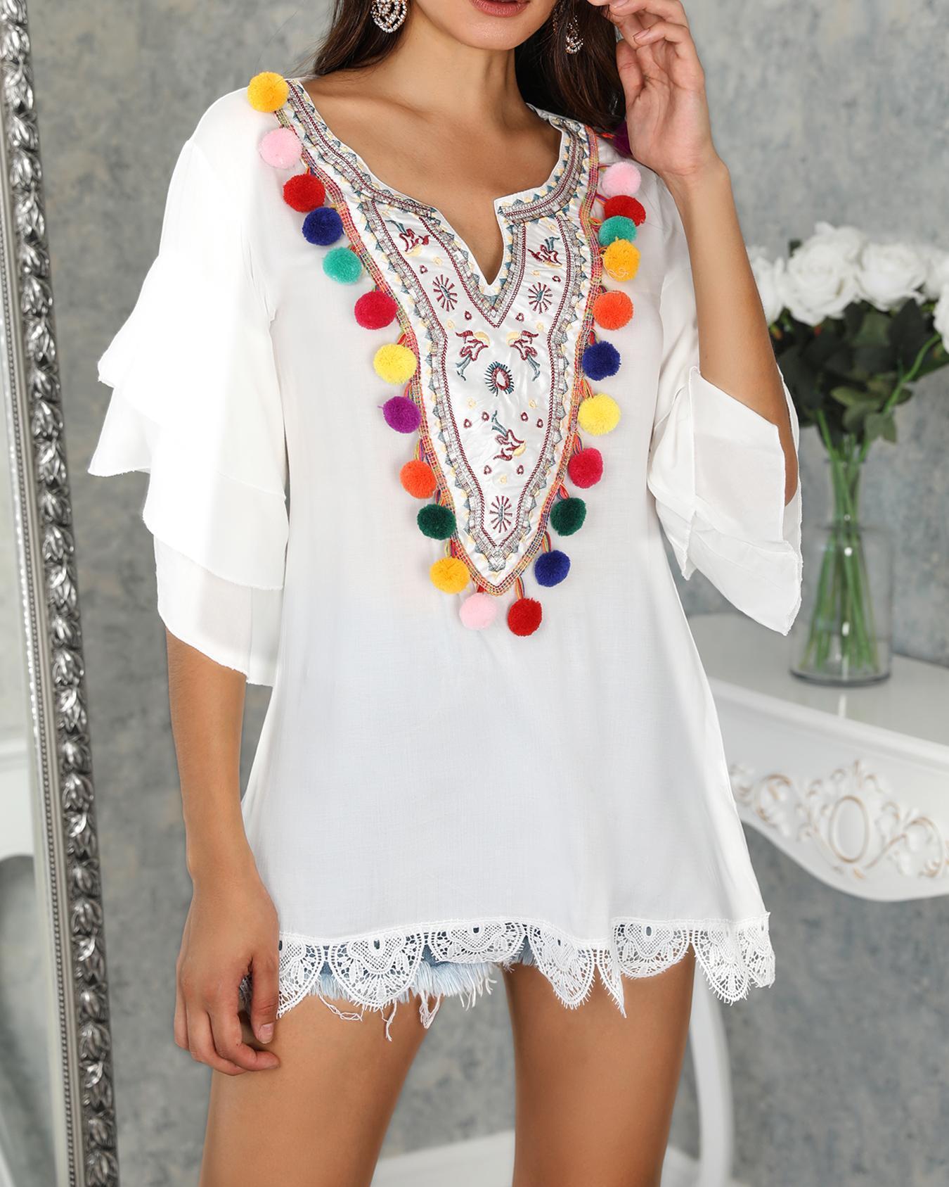 Ethnic Print Pom Poms Tiered Sleeve Casual Dress