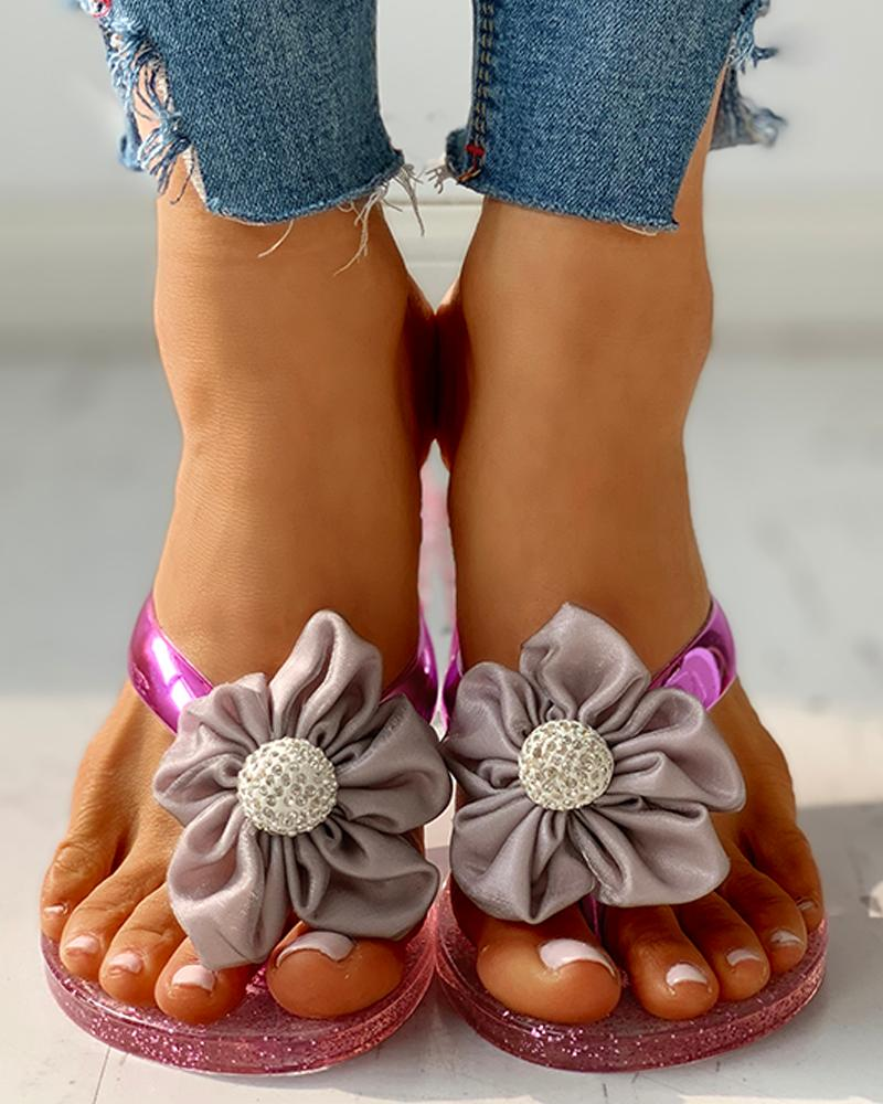 Toe Post Flower Design Flat Sandals фото