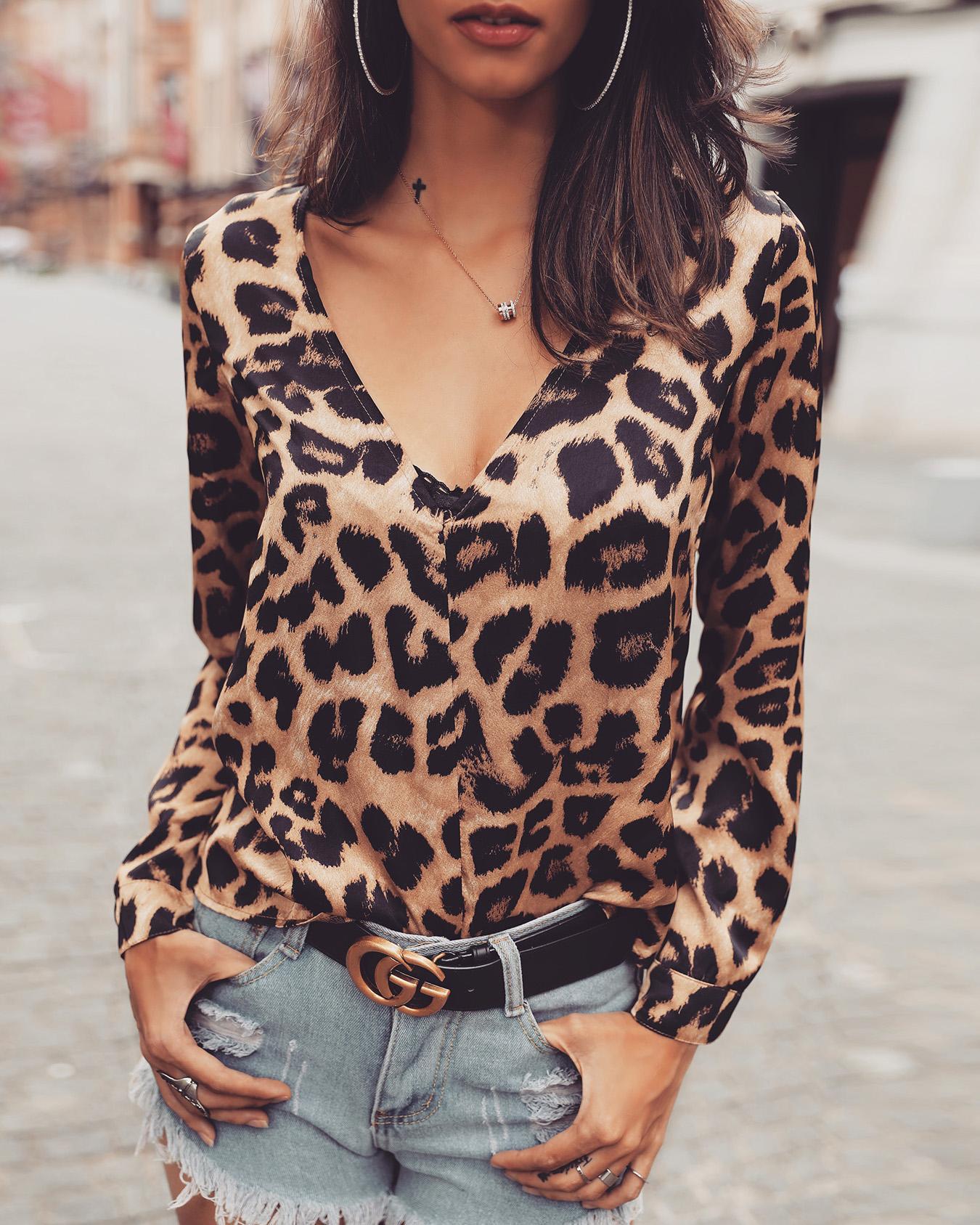 Leopard Print Deep V Long Sleeve Blouse фото