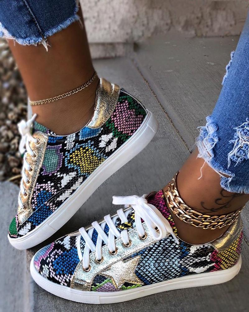 Snakeskin Star Design Lace-Up Sneakers фото