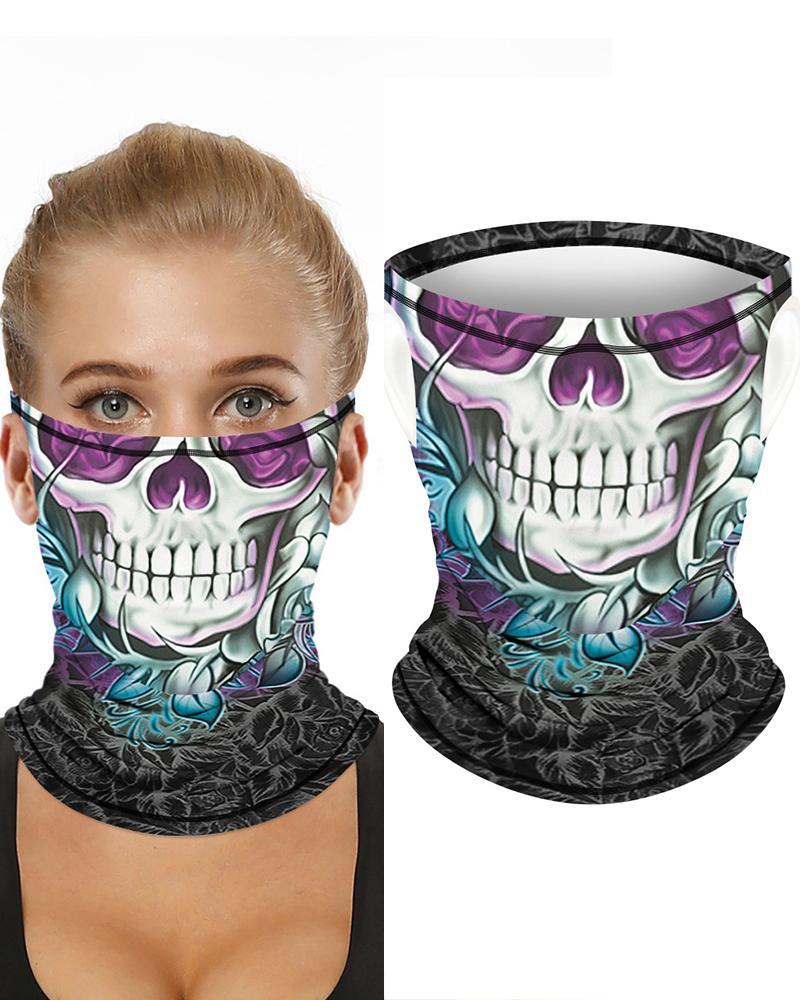 Skull Print Breathable Ear Loop FaceBandana Headwrap фото