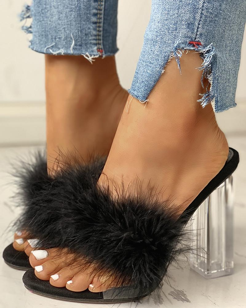 Fluffy Open Toe Transparent Chunky Heeled Sandals, Black
