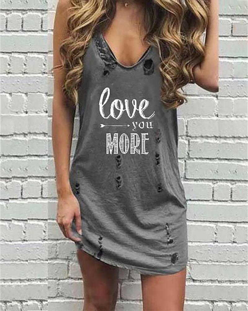 V-neck Letter Print Hollow Out Casual Dress фото