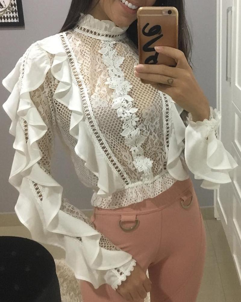 Hollow Out Lace Ruffles Trim Blouse фото