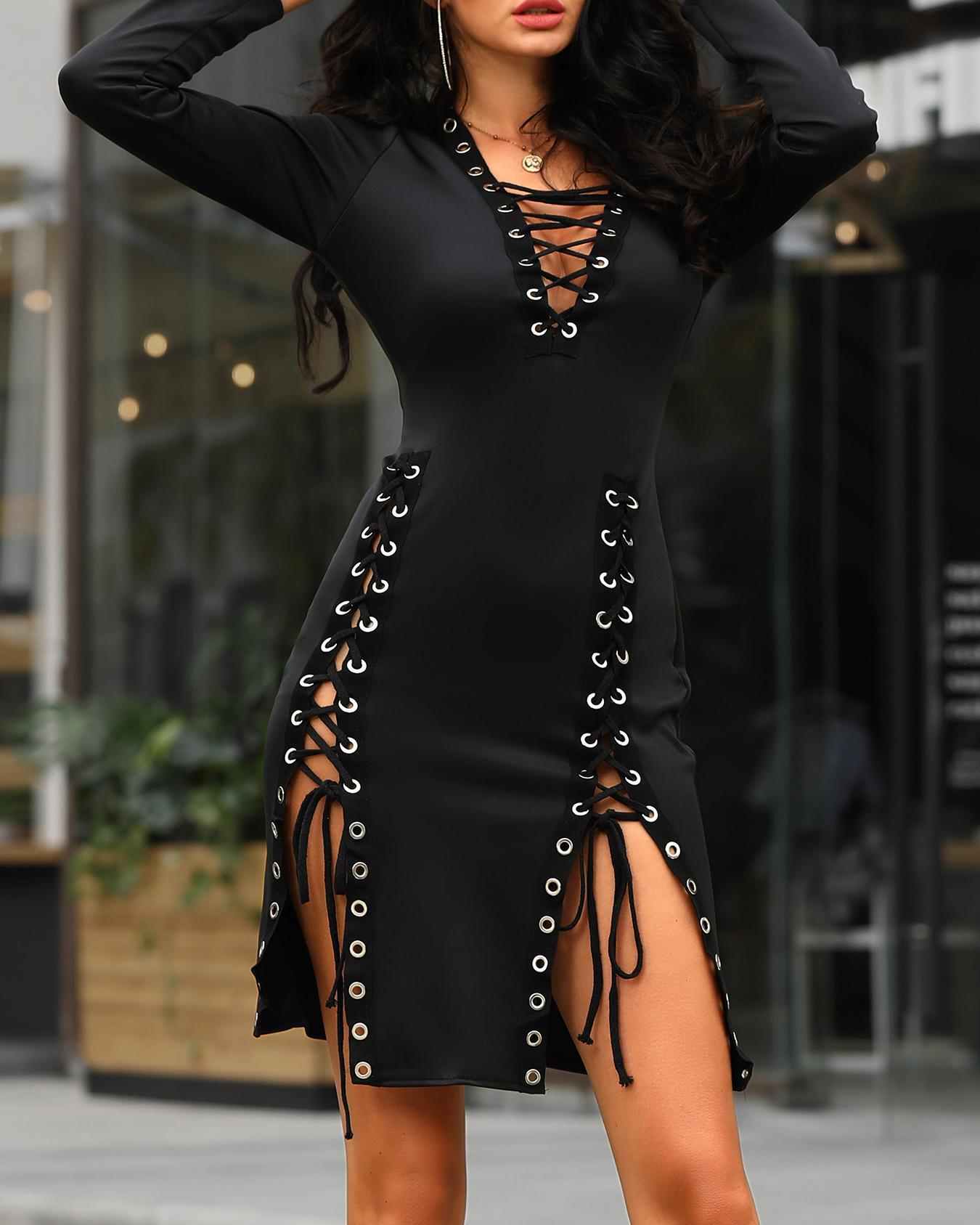 Sexy Lace Up Irregular Plunged Dress