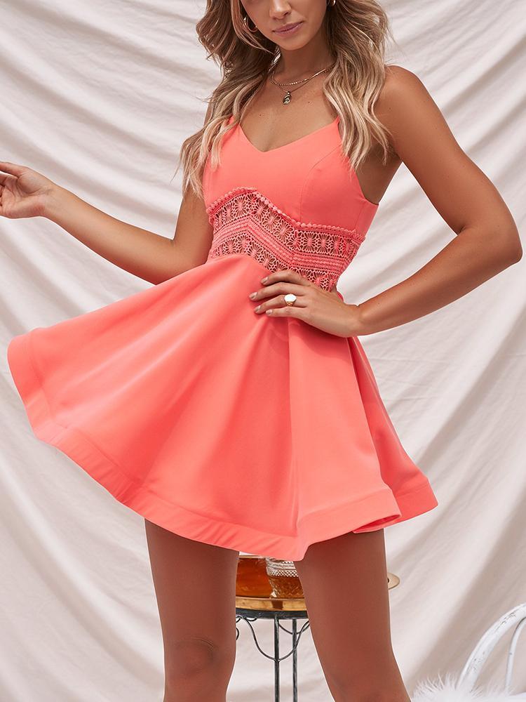 Deep V Contrast Lace Waist Mini Slip Dress