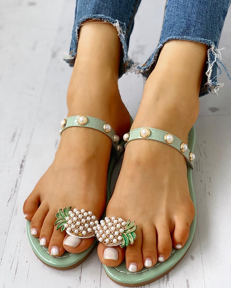 chicme / Sandalias casuales con cuentas anillo piña patrón dedo del pie