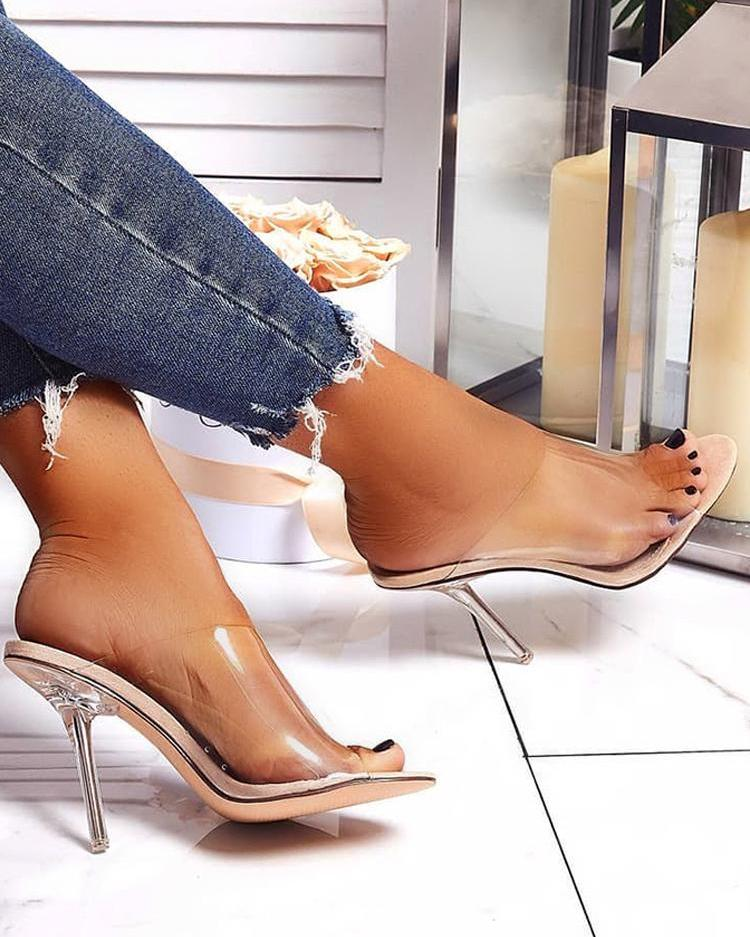 joyshoetique / Transparent Strap Open Toe Thin Heeled Sandals