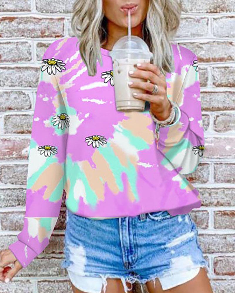 Tie Dye Daisy Print Long Sleeve Casual Sweatshirt фото