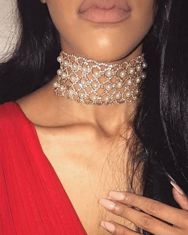 Beading Embellished Sparkly Necklace фото
