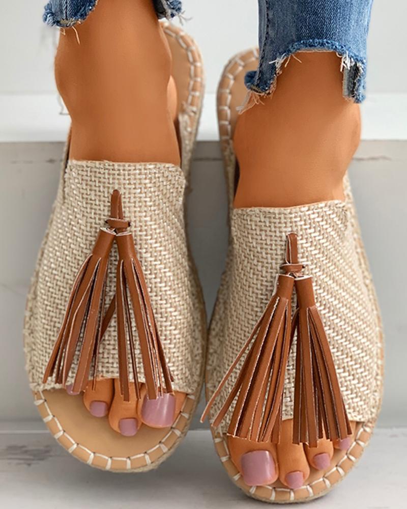Tassel Detail Peep Toe Flat Sandals фото