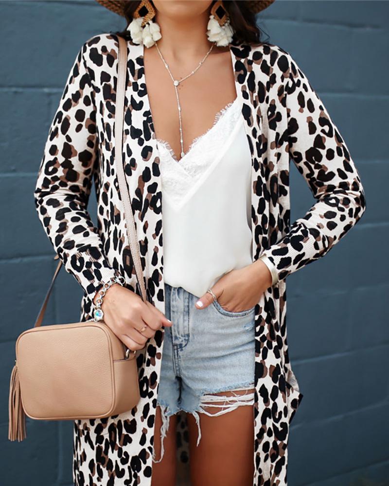 Long Sleeve Leopard Print Cardigans фото