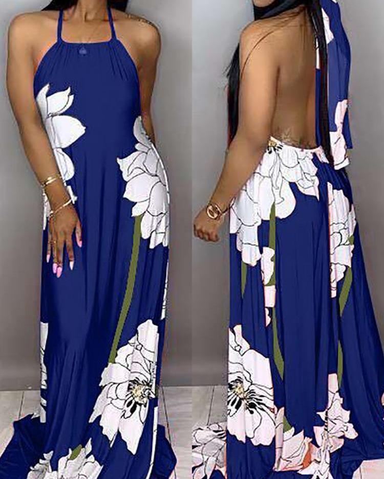 boutiquefeel / Halter estampado floral vestido maxi espalda abierta