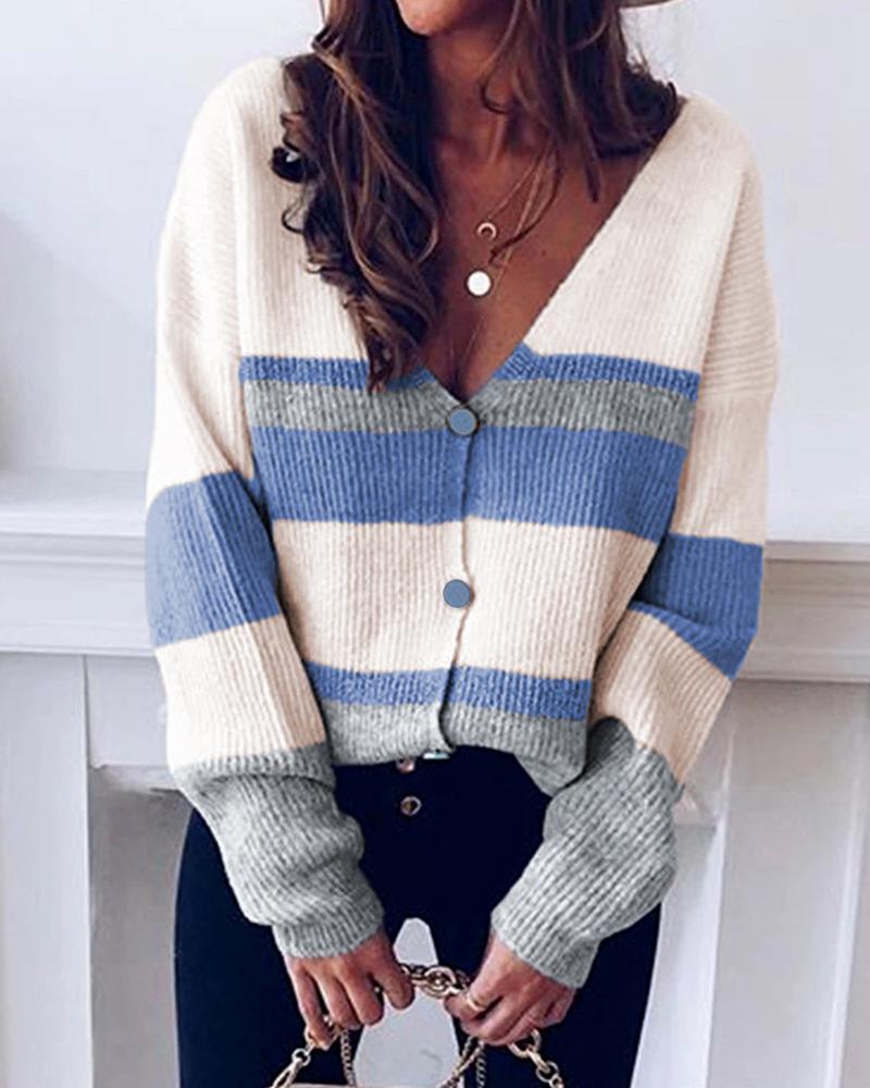 Striped V-neck Knit Sweater Cardigan фото