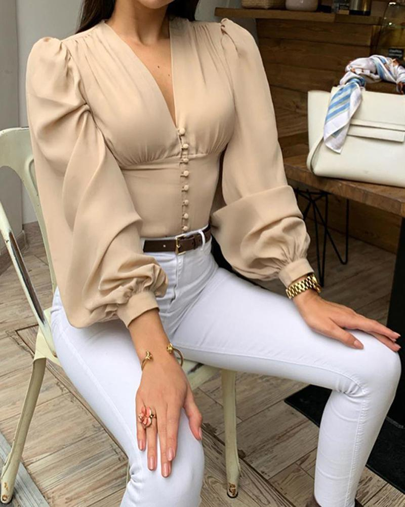 V-Neck Solid Lantern Sleeve Casual Blouse фото