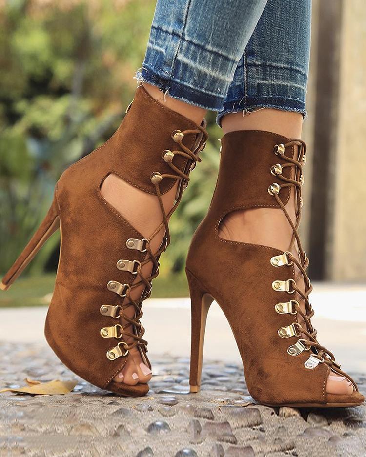 chicme / Eyelet Lace-Up Peep Toe Stiletto Boots