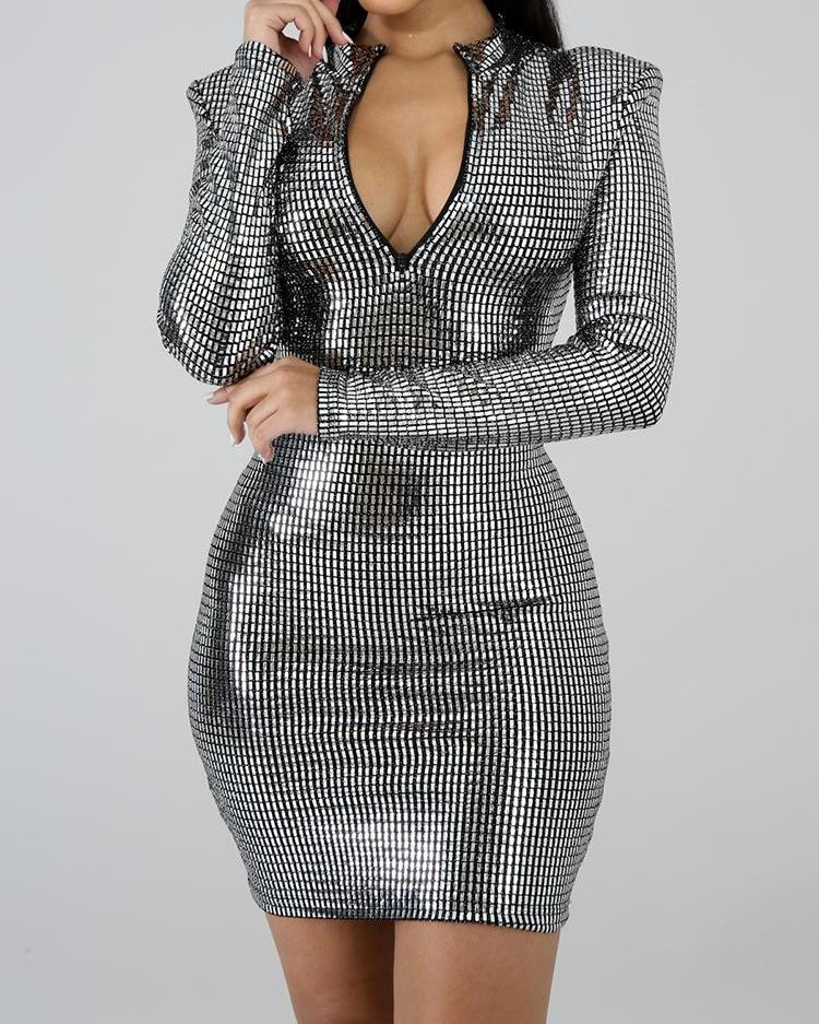 Reversible Zipper Design Glitter Bodycon Dress