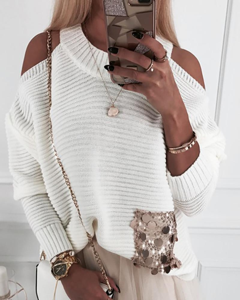 Cold Shoulder Batwing Sleeve Ribbed Sequins Insert Sweater фото