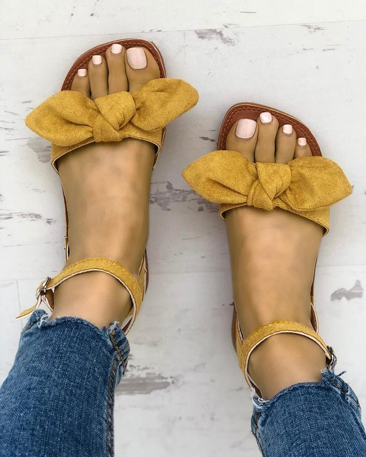 chicme / Solid Denim Bow Decorate Sandals