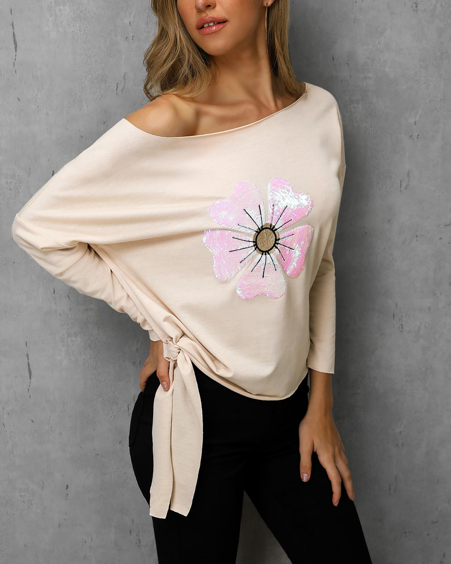 One Shoulder Sequins Long Sleeve Pullover