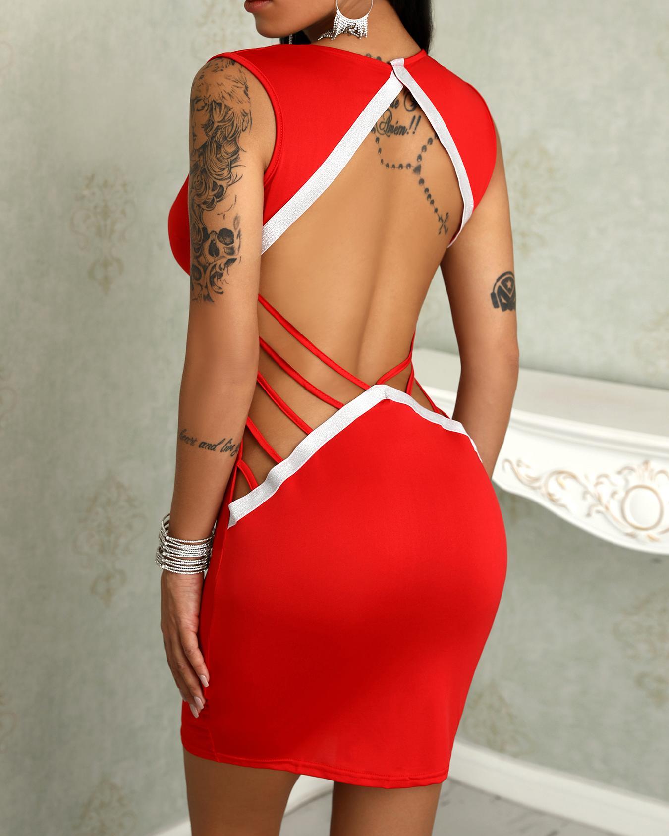 chicme / Vestido ajustado con espalda abierta y escote en V profundo