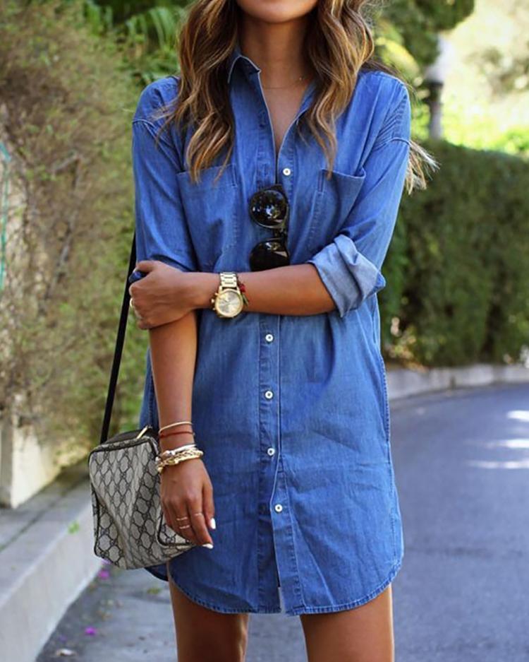 Trendy Buttoned Denim Shirt Dress