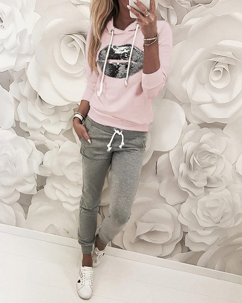 Sequins Hooded Top & Drawstring Design Pant Sets фото