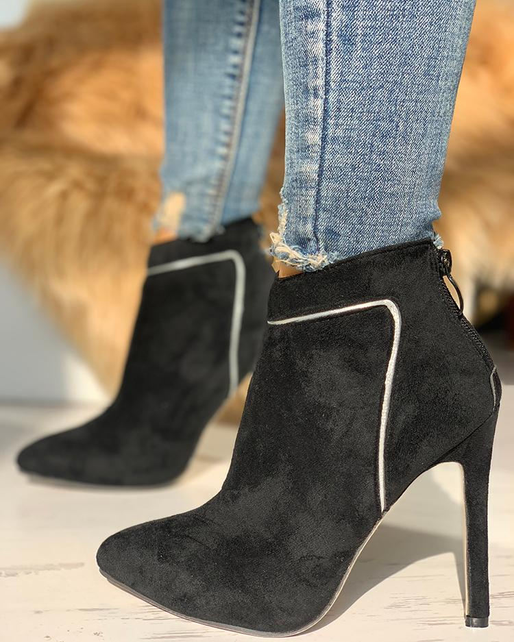 Suede Contrast Splicing Thin Heeled Boots