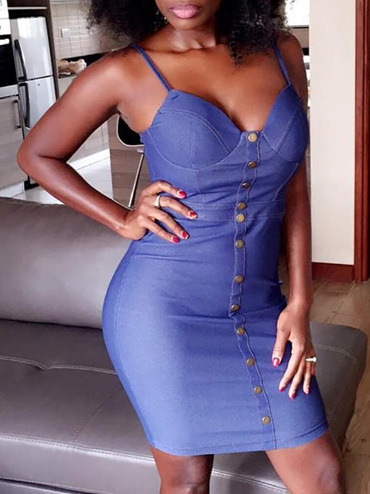 Sexy Button Front Sweetheart Bodycon Dress, Blue
